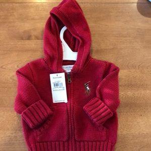 RL Red zip up hoodie sweater